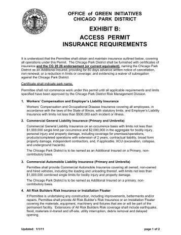 Exhibit B - Insurance Requirements - Chicago Park District