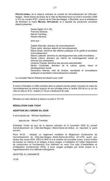 227 PROCÈS-VERBAL de la séance ordinaire du ... - Ville de Montréal
