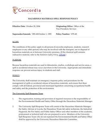hazardous materials spill response policy - Concordia University