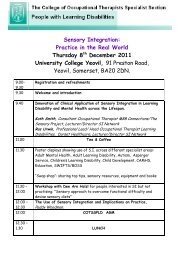 Study Day Programme - College of Occupational Therapists