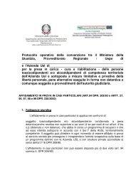 Protocollo operativo della convenzione tra il Ministero della Giustizia ...