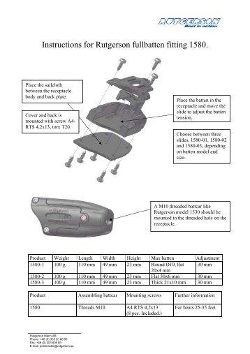 Instructions for Rutgerson fullbatten fitting 1580.