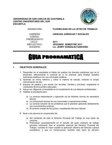 cc. juridicas especialidades flexibilidad laboral - Usac