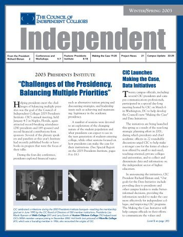 Winter/Spring 2003 - The Council of Independent Colleges
