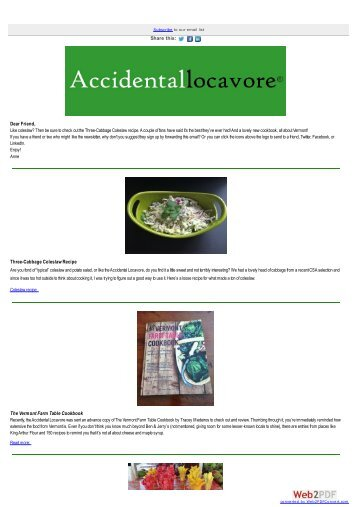Three-Cabbage Coleslaw, New Cookbook Review - Accidental ...