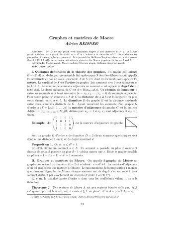 Graphes et matrices de Moore