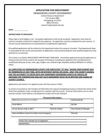 APPLICATION FOR EMPLOYMENT ORANGEBURG COUNTY ...