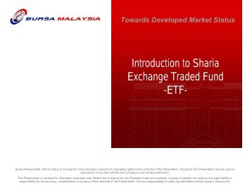 Introduction to Sharia Exchange Traded Fund -ETF- - OIC