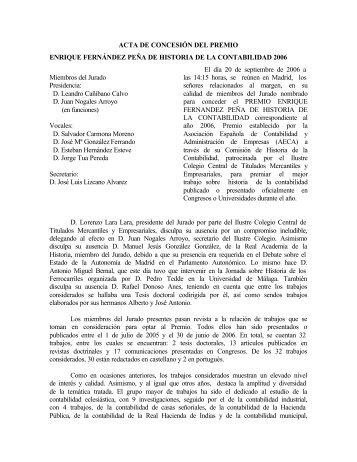 Acta Reunión Jurado Premio 2006 - Asociación Española de ...