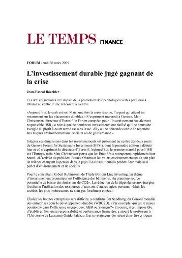 Le Temps, March 26th 2009
