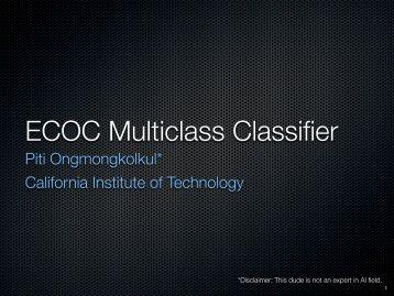 ECOC Multiclass Classifier - California Institute of Technology