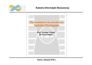 Kielce, luty 2009 r. - Katedra Informatyki Stosowanej