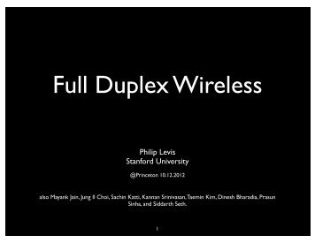 Full Duplex Wireless - Stanford University