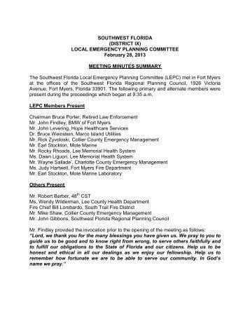 minutes - Southwest Florida Regional Planning Council