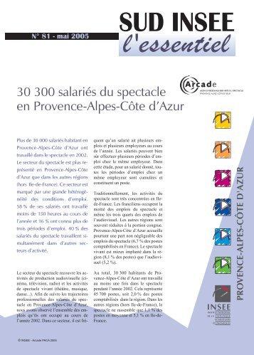 30 300 salaries du spectacle en Provence-Alpes ... - Arcade PACA