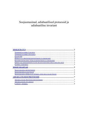 Soojusmasinad, adiabaatilised protsessid ja adiabaatiline invariant