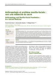 Anthropologie et prothèse maxillo-faciale : vers une médecine du ...