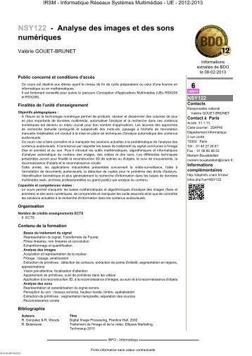 NSY122 - Analyse des images et des sons numériques - Cnam