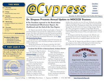 November 16, 2012 - News... - Cypress College