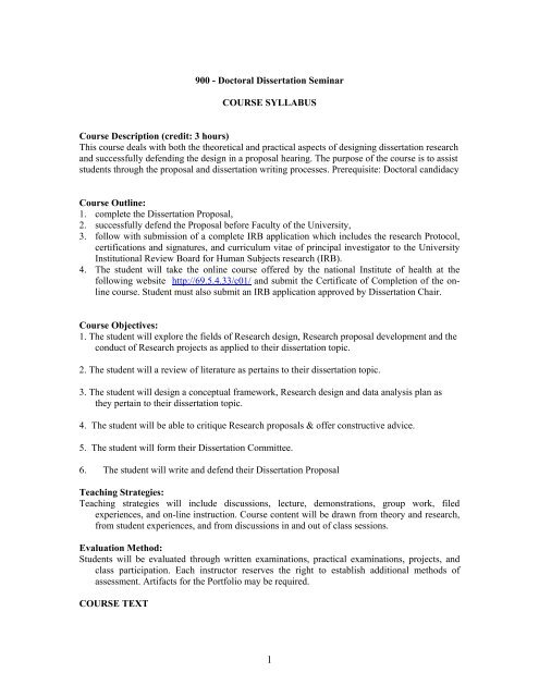Dissertation seminar title pages for research papers