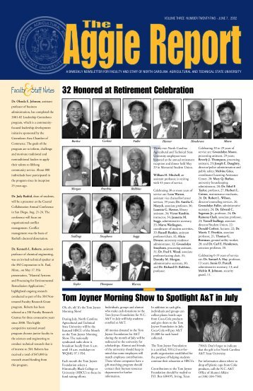 32 honored at retirement celebration - North Carolina A&T State ...