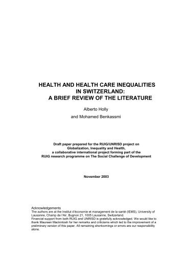 Health and Health Care Inequalities in Switzerland - RUIG-GIAN