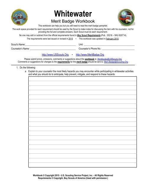 Whitewater Worksheet Merit Badge Research Center