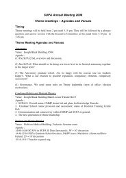 SUPA Annual Meeting 2008 Theme meetings – Agendas and Venues