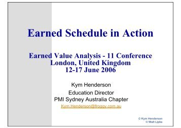 Earned Schedule in Action - Association for Project Management