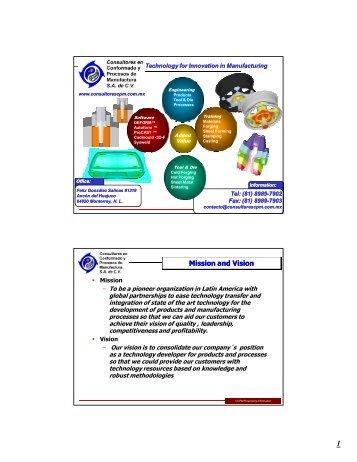 CCPM´s Sheet Metal Forming - Consultores en Conformado y ...