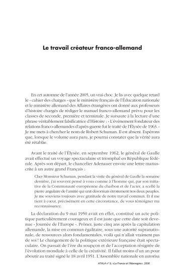 Le travail créateur franco-allemand - Lycée Chateaubriand