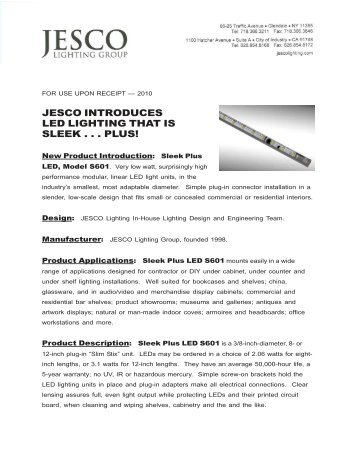 Jesco - Sleek Plus LED S601 - 2011.pmd - Jesco Lighting