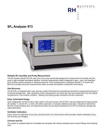 SF6 Analyzer 973 - Electro Rent Corporation