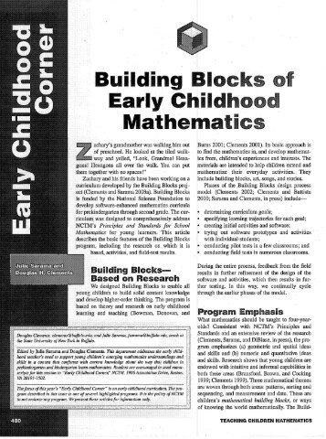 Building Blocks of Early Childhood Mathematics