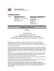 Q2.05 Press Release - Medical Nutrition USA, Inc.