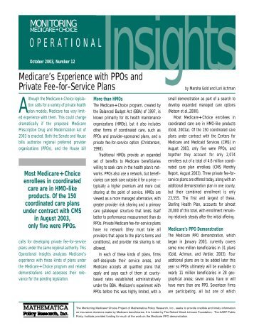 Medicare's Experience with PPOs and Private Fee-for-Service Plans ...