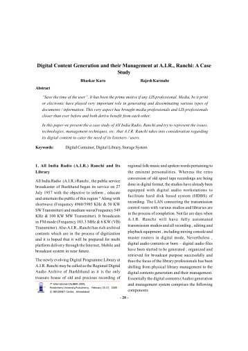 Digital Content Generation and their Management at A.I.R., Ranchi ...