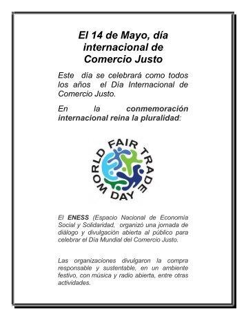 El 14 de Mayo, día internacional de Comercio Justo