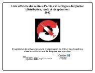 Liste officielle des centres d'accès aux seringues du Québec ...