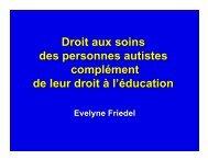 Droit aux soins des personnes autistes ... - Autisme France