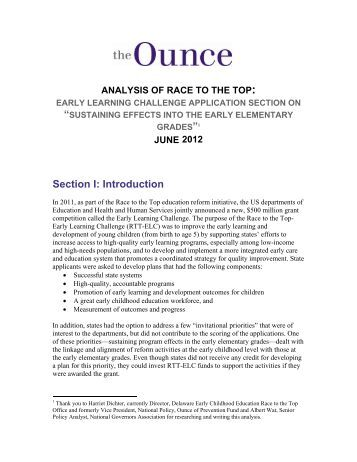 Section I: Introduction - Ounce of Prevention Fund