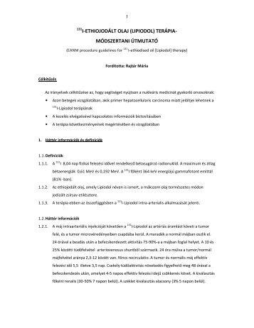 (lipiodol) terápia- módszertani útmutató