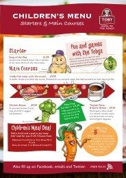 Children's menu - Toby Carvery