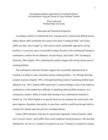 Outline for RUME paper 2009 - Mathematical Association of America