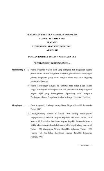 Perpres RI Nomor 46 Tahun 2007 Tentang Tunjangan Jabatan ...