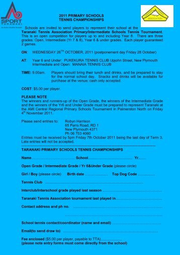 2011 PRIMARY SCHOOLS TENNIS ... - Sport Taranaki