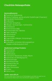 Checkliste Reiseapotheke - BfU