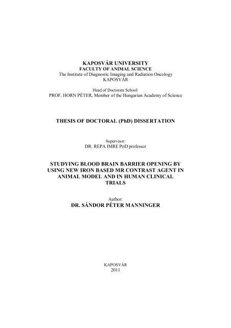KAPOSVÁR UNIVERSITY THESIS OF DOCTORAL (PhD ...
