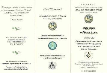 i_-= prometeo n. 261 or: di taranto - Newsletter Ufficiale del Grande ...