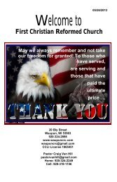 May 26 - First Christian Reformed Church